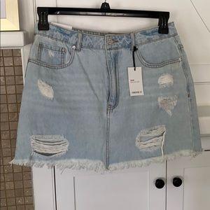 Forever 21, Light denim, ripped, Jean skirt
